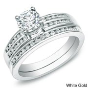 Auriya  1ct TDW Round Channel Set Diamond Engagement Ring Set 14k Gold Certified