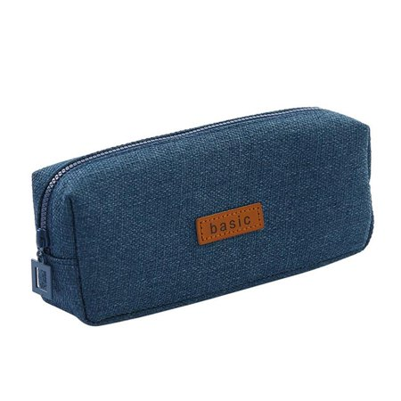 Superb Cotton Linen Pencil Case Student Stationery Pouch Bag Office Storage Organizer Coin Pouch Cosmetic Bag (Blue)