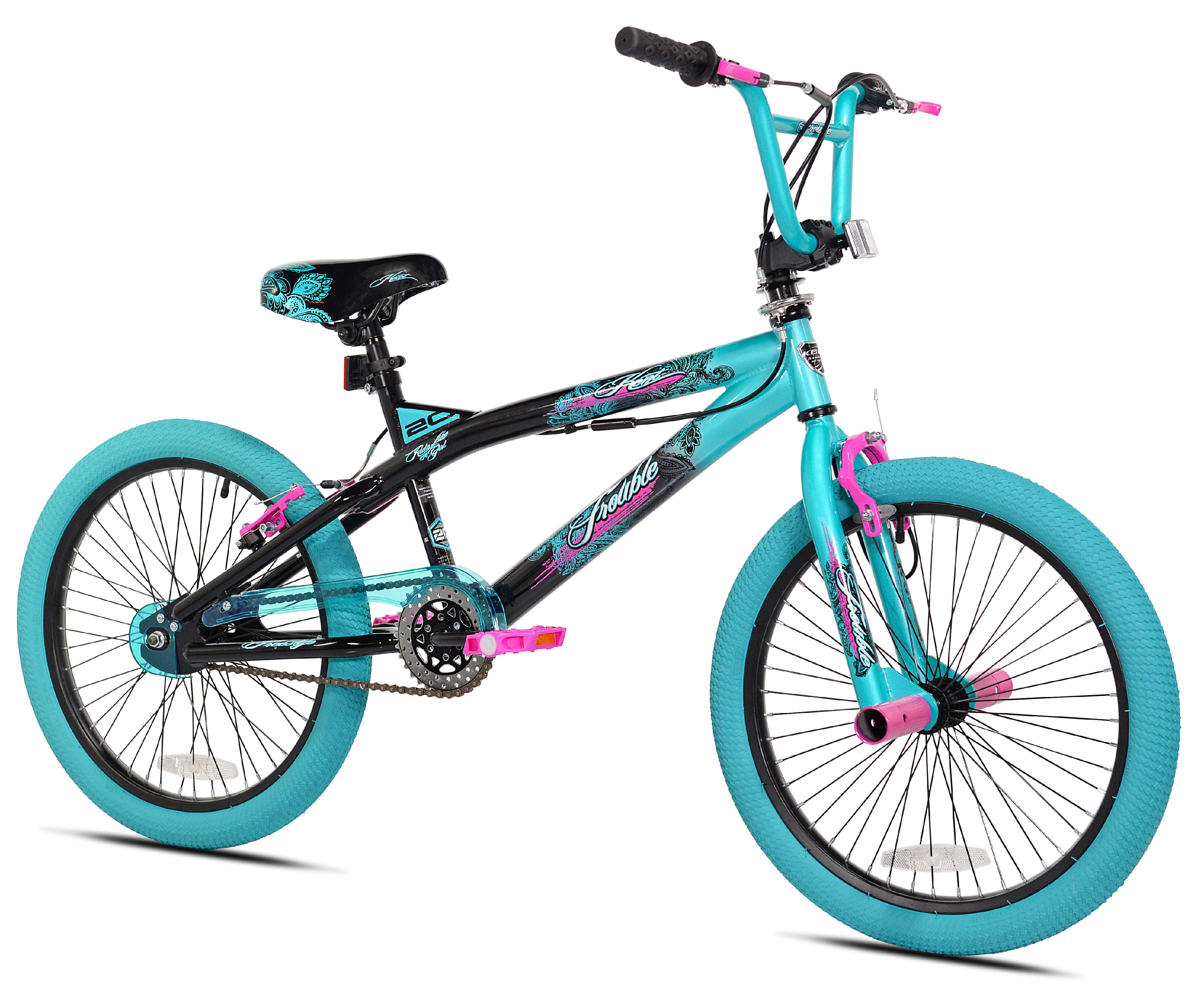 "Kent 20"" Girls', Trouble BMX Bike, Black Pink, For Height Sizes 4'2"" and Up by Kent International Inc"