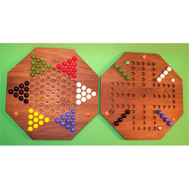 THE PUZZLE-MAN TOYS W-1962 Wooden Marble Game Board (2 Games In 1) 18 in. Octagon Aggravation 4-Player 5-Hole... by Charlies Woodshop
