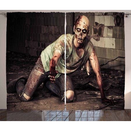 Zombie Curtains 2 Panels Set, Halloween Scary Dead Man in the Old Building with Bloody Head Nightmare Theme, Window Drapes for Living Room Bedroom, 108W X 63L Inches, Grey Mint Peach, by Ambesonne (Scary Halloween Themes For Windows 7)