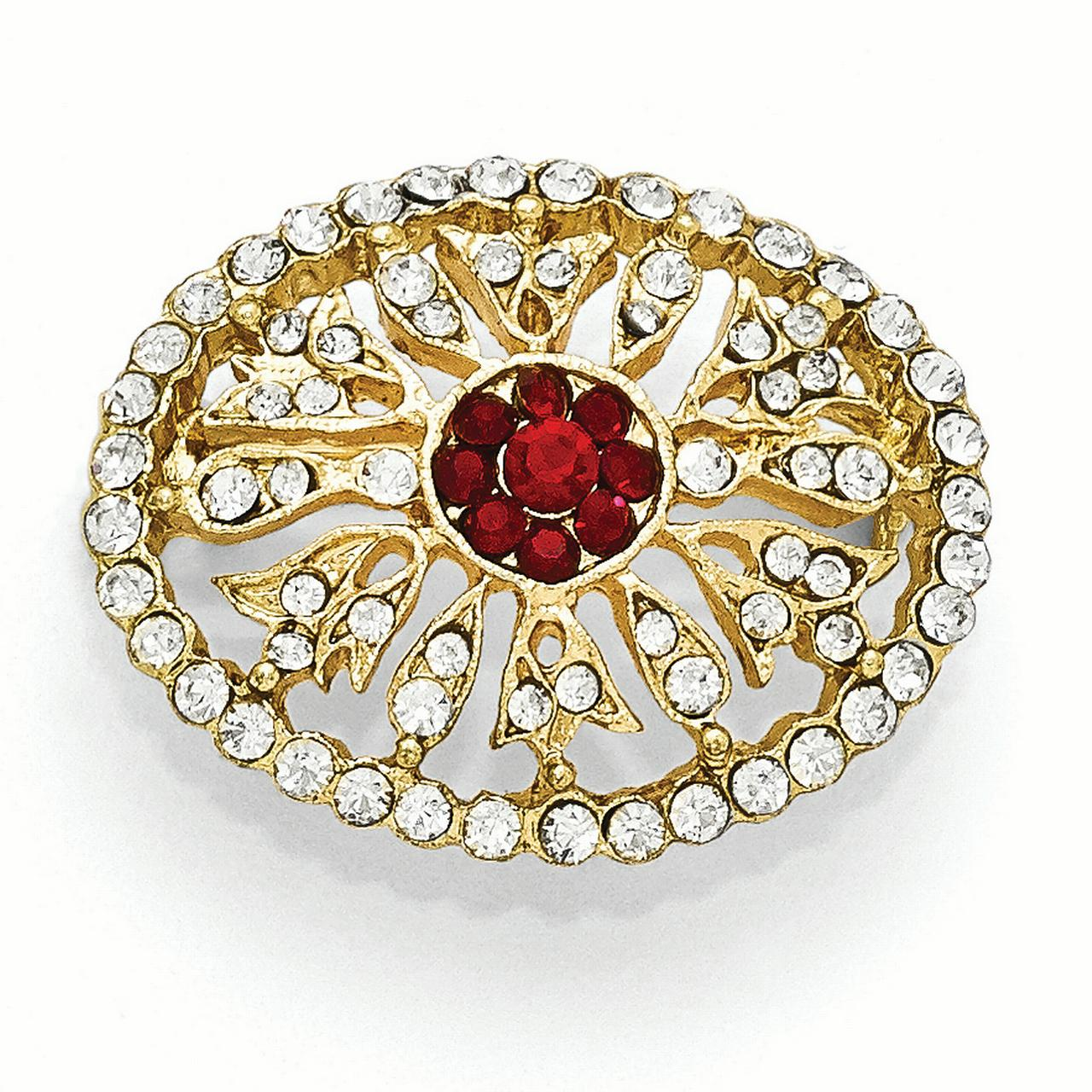 Roy Rose Jewelry 1928 Collection Gold-tone Downton Abbey Red & Clear Glass Oval Pin by