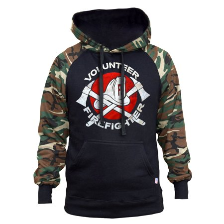 Men's Volunteer Firefighter Black/Camo Raglan Baseball Hoodie 2X-Large Black (Personalized Firefighter Apparel)