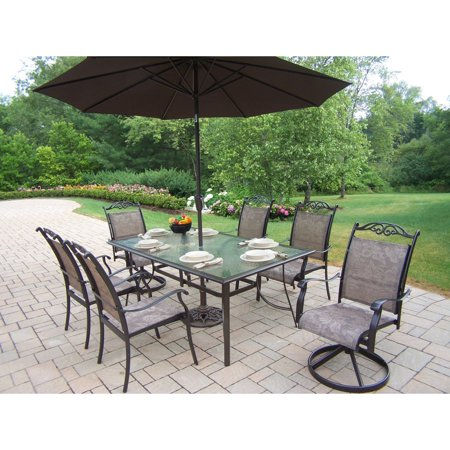 living cascade patio dining set with umbrella and stand seats 6