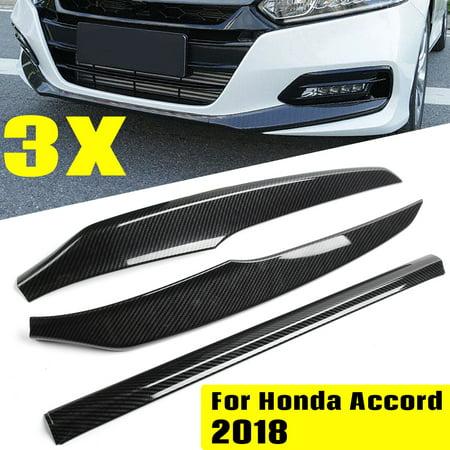 3Pcs For Honda Accord 18-2019 Car Carbon Fiber Front Bumper Cover Lip Trim Black Carbon Fiber Bumper