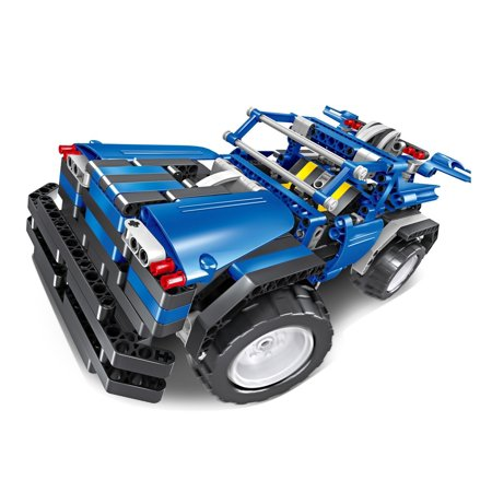Bo Toys R/C 2 in 1 Off Road Truck Building Bricks Radio Control Toy, 443 Pcs DIY Kit with USB Rechargeable Battery, Construction Build It Yourself Toys Build A Fort Kit
