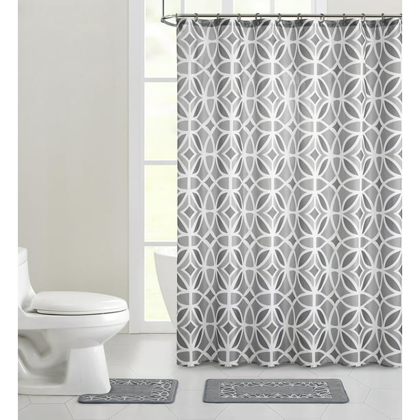 Mainstays Aster Geometric Polyester Shower Curtain Bath Set Grey 15 Pieces Walmart Com Walmart Com