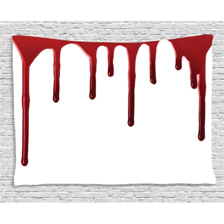 Tapestry, Flowing Blood Horror Spooky Halloween Zombie Crime Scary Help me Themed Illustration, Wall Hanging for Bedroom Living Room Dorm Decor, 60W X 40L Inches, Red White, by Ambesonne