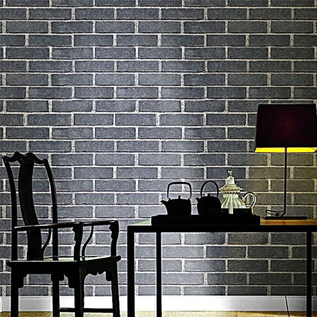 1.8ft x 31.2ft Wallpaper Removable Brick Textured Retro Style Wallpaper Roll PVC Stone Brick Tile Textured Thicken Waterproof Wall Sticker Decor Easy - Plastic Brick Wall
