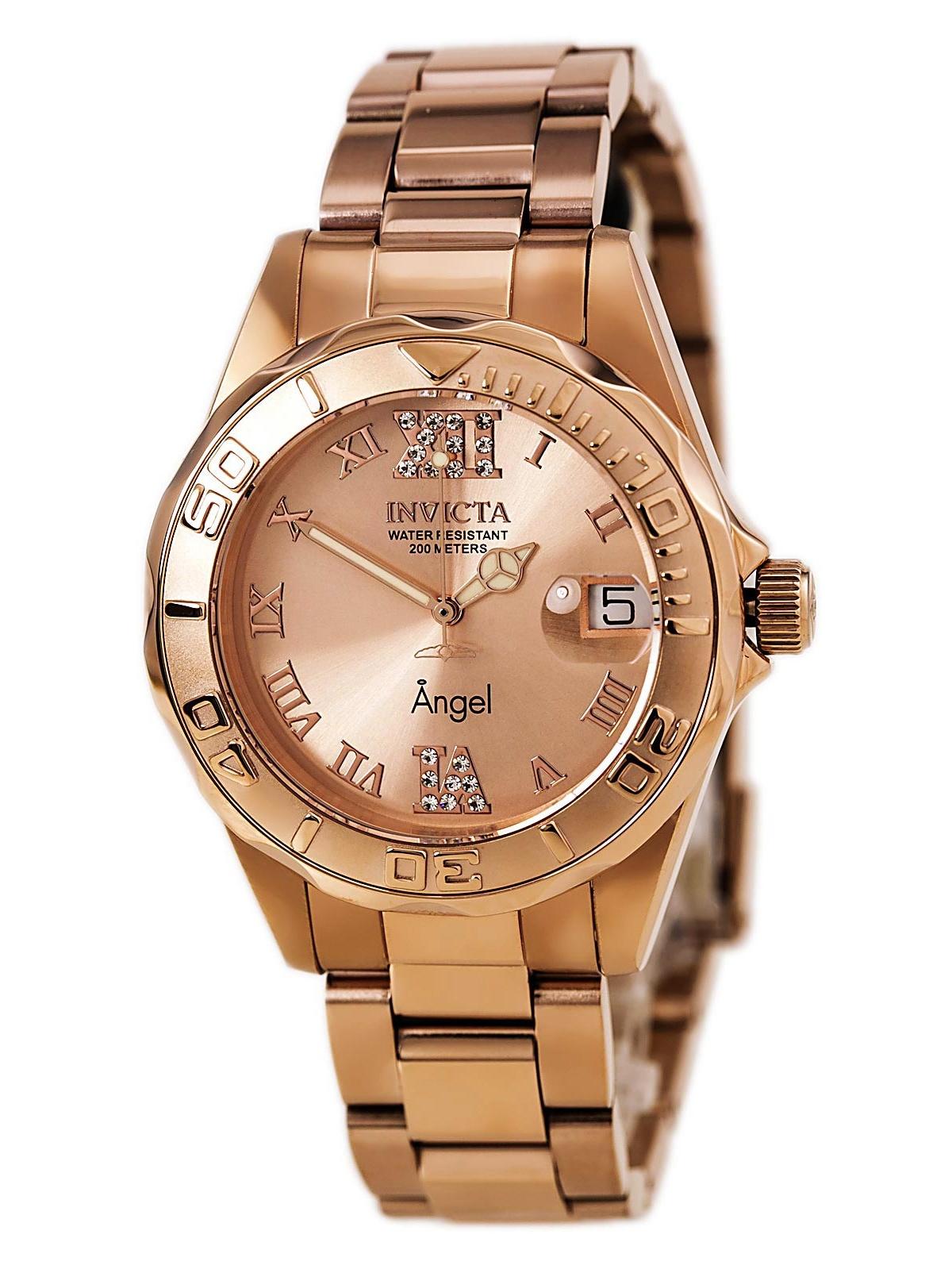 14398 Womens Angel Quartz Rose Gold Dial Rose Gold Steel Dive Watch