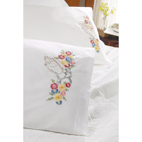 """Bucilla Praying Hands Stamped Embroidery Pillowcase Pair, 20"""" x 30"""""""