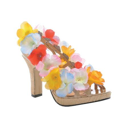 4 Inch Heel Sandals Sexy Hawaiian Shoes Lei Luau Flowers Size 6 - Leis Flowers
