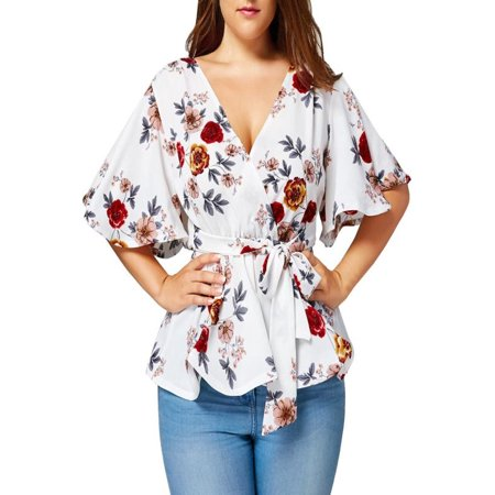 Belted Womens Shirt (Fashion Womens Floral Print Plus Size Belted Surplice Peplum Blouse V-Neck Tops )