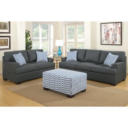 Poundex Moss 2 Piece Blended Linen Living Room Set With Matching Ottoman And Pillows