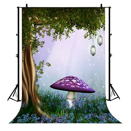 GCKG 7x5ft Fairy Forest For Dreamy Woods Tree Magic Lamp Sweet Flower Meadow Spring Florets Mushroom Polyester Photography Backdrop Photo Background Studio Props - image 4 de 4