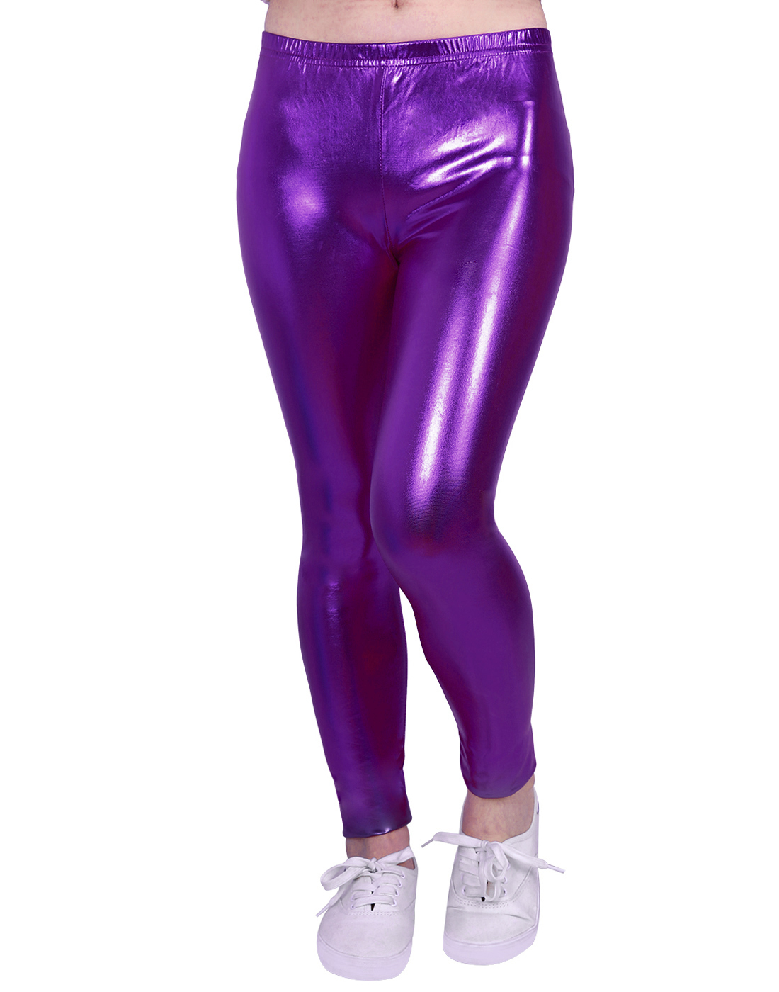 HDE Girls Shiny Wet Look Leggings Kids Liquid Metallic Footless Tights (Silver, 4/5)