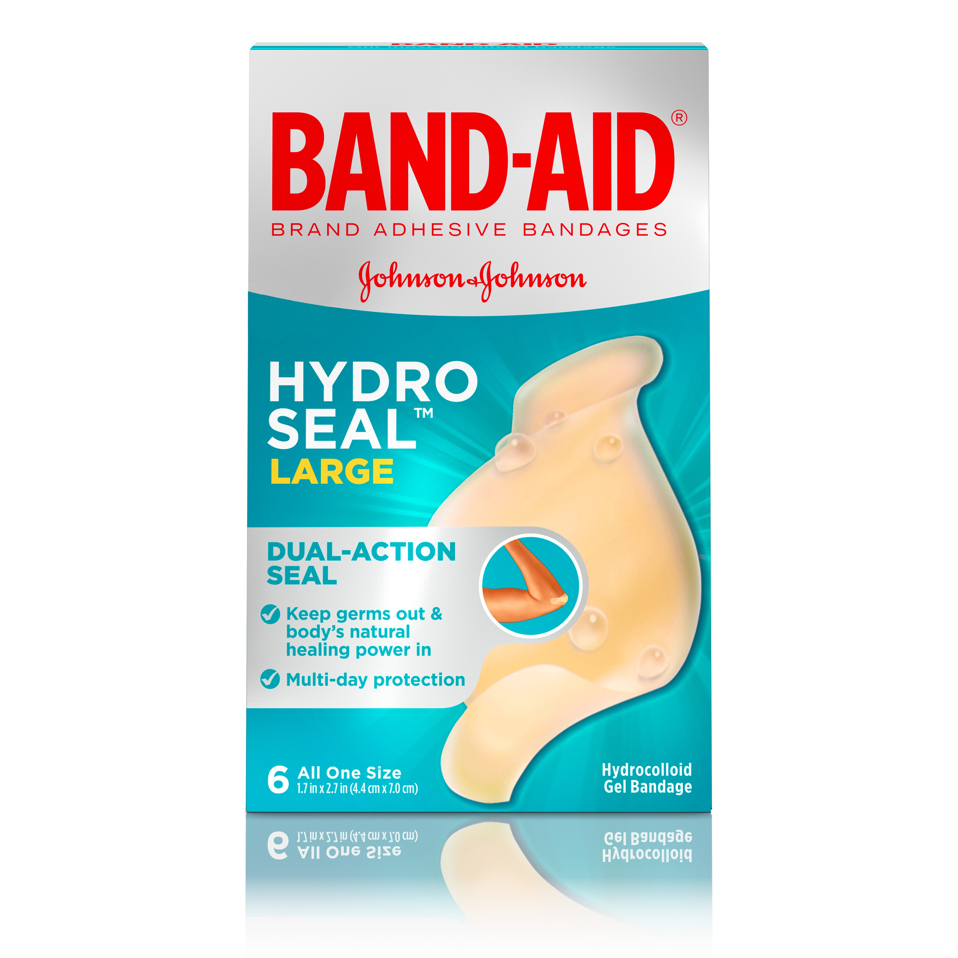Band-Aid Brand Hydro Seal Large All Purpose Adhesive Bandages, 6 Count