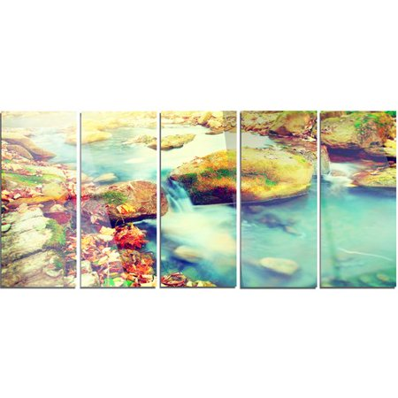 Design Art Mountain River with Stones' 5 Piece Graphic Art on Metal Set