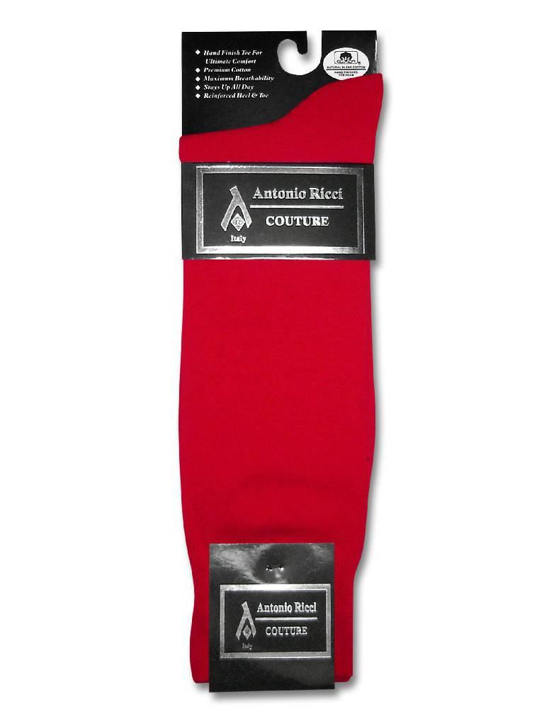 1 Pair of Antonio Ricci Solid RED Color Men's COTTON Dress SOCKS