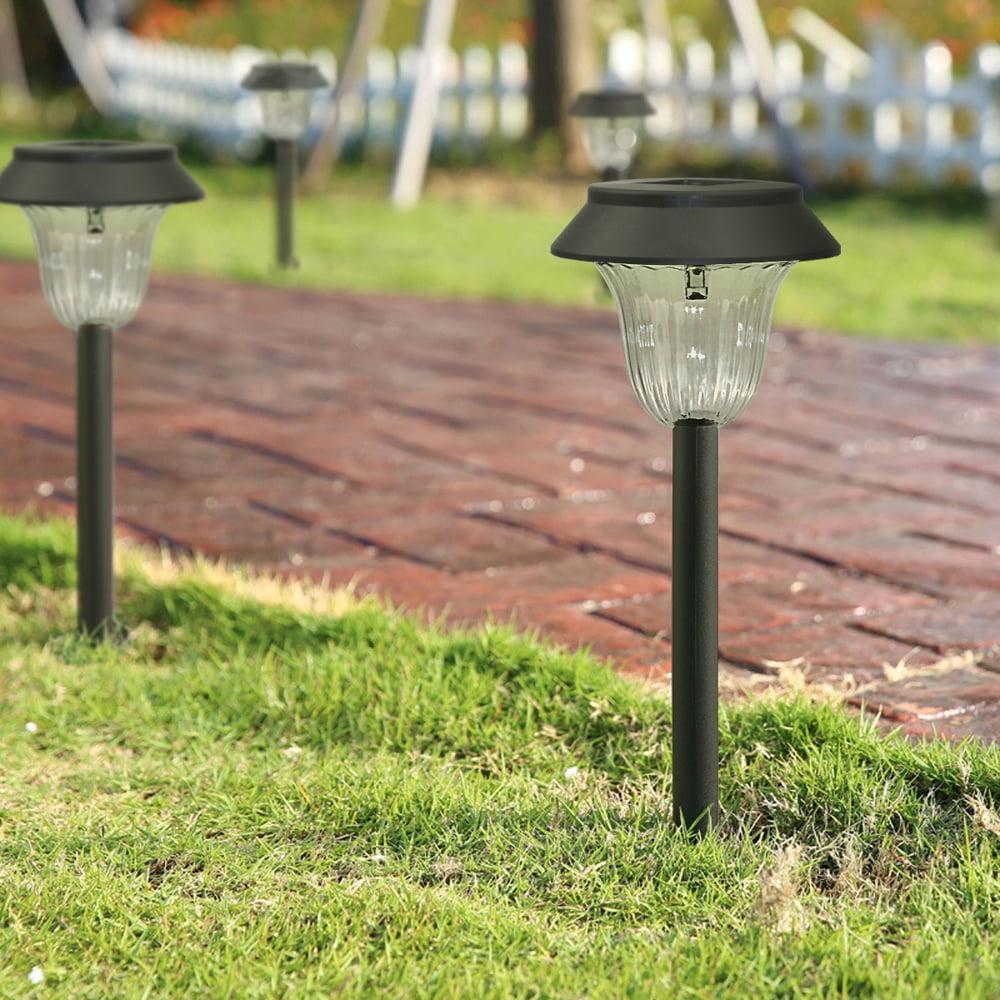 LED Garden Lights Lamp Post Solar Powered Lantern Patio Pathway Walkway Outdoor 1