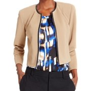 Kasper NEW Beige Ribbed Faux-Leather Trim Women's Size 16 Basic Jacket