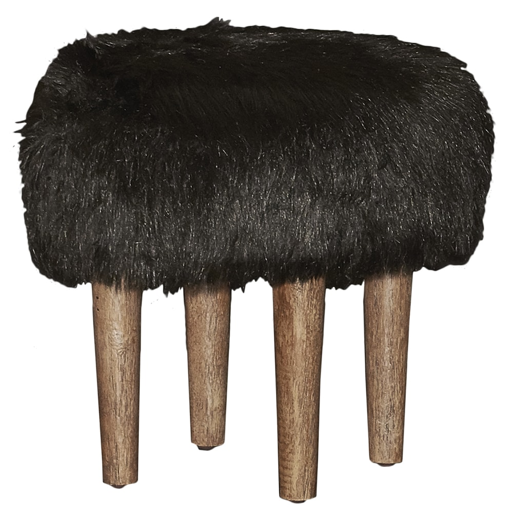 Linon Biddle Black Faux Flokati Stool