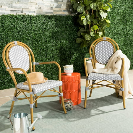Safavieh Rosen Outdoor French Bistro Stacking Arm Chair, Set of 2 ()