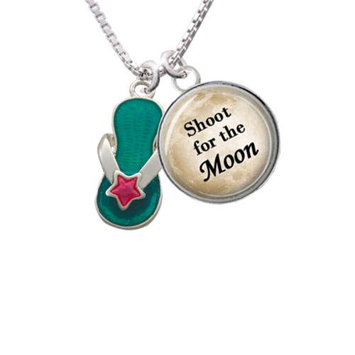 """Tropical Blue Flip Flop with Pink Star Shoot for the Moon Glass Dome Necklace, 18""""+2"""""""
