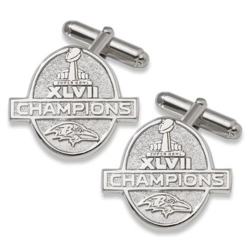 NFL Baltimore Ravens Super Bowl XLVII Champions Cuff Links in Sterling Silver