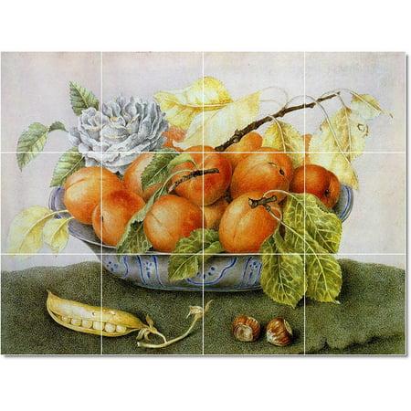 Ceramic Tile Mural Giovanna Garzoni Fruit Vegetables Painting 14 17 w