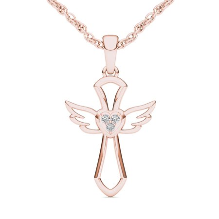 Solid 10kt White Gold Cross (Imperial 1/20 Carat T.W. Diamond 10kt Rose Gold Angel Wings Cross)
