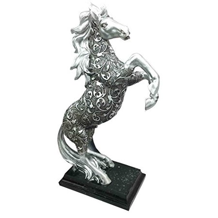 Legendary Silver Skyline Bucking Horse On Hind Legs With Engraved Flame Vines Body Steed Figurine Statue Home Decor Sculpture For Horse Riders Racers Breeders