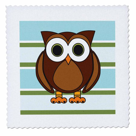 10 Inch Rally Stripes - 3dRose Cute Brown Owl Blue Green Stripe - Quilt Square, 10 by 10-inch