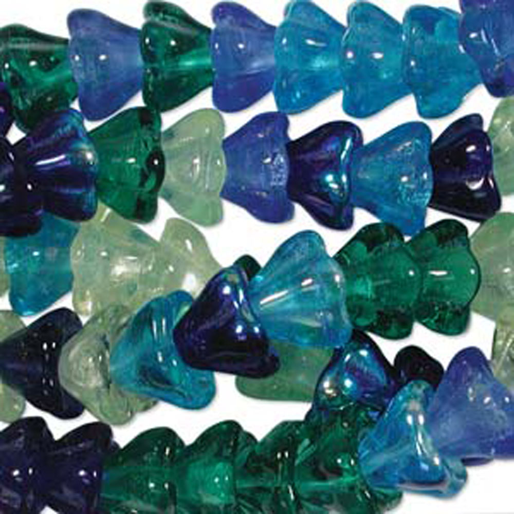 Lagoon Mix 10x13mm Flower Cone 45 Bead Cap Czech Glass, Loose Beads,