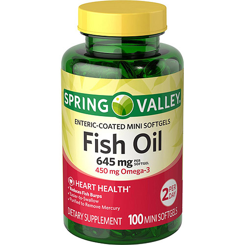 Spring Valley Fish Oil Mini Softgels, 645 mg per serving, 100 count