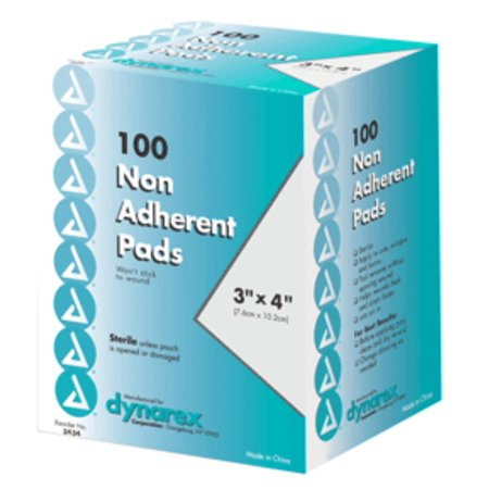 Dynarex Nonadherent Pads 3 Inches X 4 Inches Sterile 100