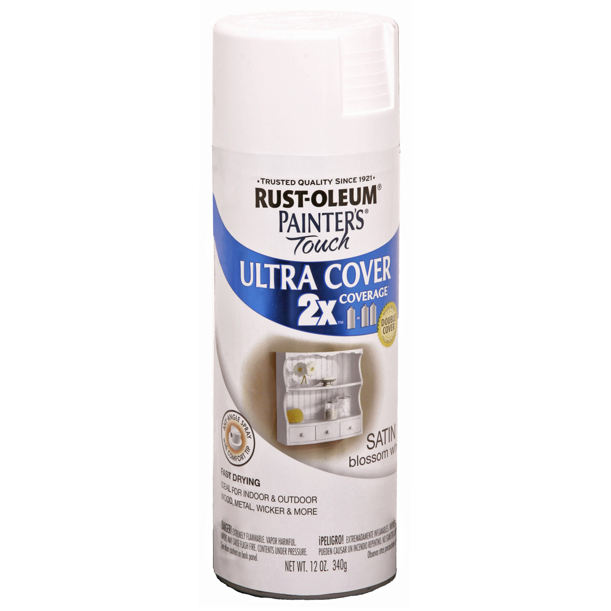 Painter's Touch Ultra Cover Satin Aerosol Paint 12oz-Blossom White