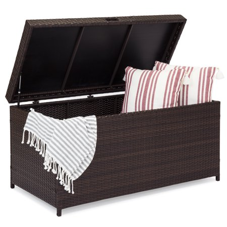 Best Choice Products Outdoor Wicker Patio Furniture Deck Storage Box with Safety Pneumatic Hinges and Deep Bed for Cushions, Pillows, and Pool Accessories,