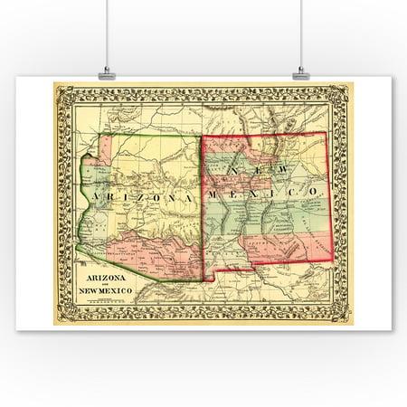Arizona and New Mexico - (1867) - Panoramic Map (9x12 Art Print, Wall Decor Travel Poster) Arizona Wall Map