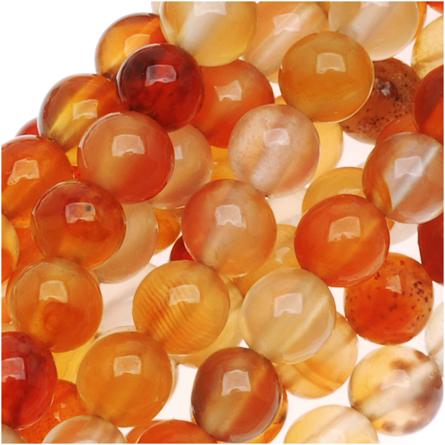 Rich Red Orange Agate Round Gemstone Beads 4mm - 15.5 Inch Strand