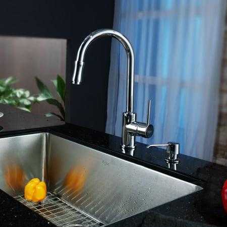 Kraus KHU100-30-KPF1622-KSD30CH Single Basin Undermount Kitchen Sink with Faucet