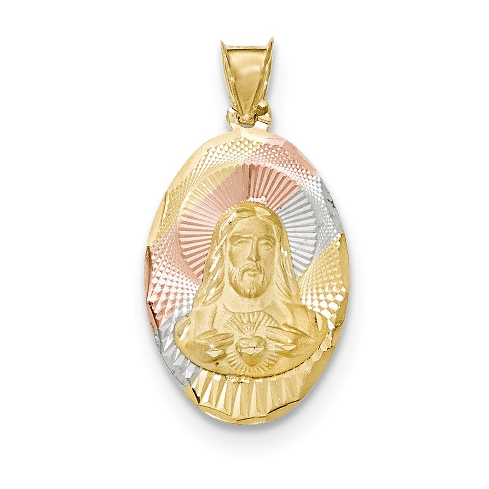 14k Yellow Gold & Rhodium Polished & Diamond Cut Sagrado Corazon Oval Pendant