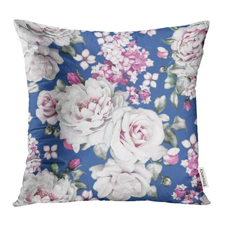 ARHOME Flowers and Leaves on Navy Blue Watercolor Floral Pattern Rose Peonies Pillow Case Pillow Cover 20x20 inch Throw Pillow Covers - Navy Blue Floral Pattern