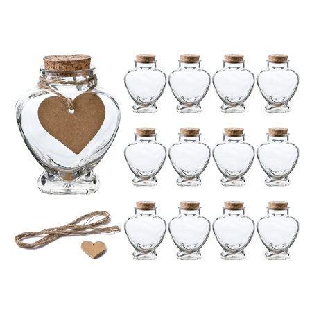5 OZ Heart Shaped Glass Favor Jars with Cork Lids,Glass Wish Bottles with Personalized Heart Shaped Label Tags and String Set of 12 5 OZ Heart Shaped Glass Favor Jars with Cork Lids,Glass Wish Bottles with Personalized Heart Shaped Label Tags and String Set of 12