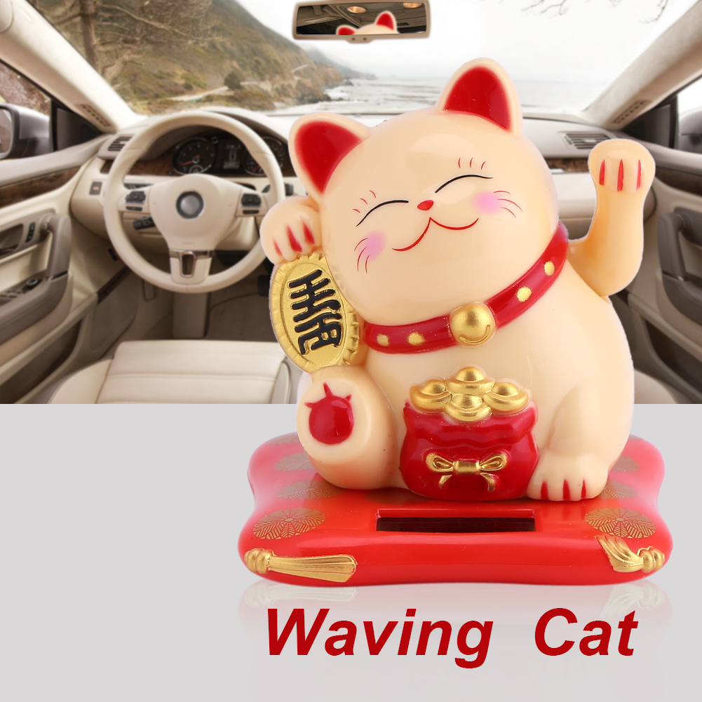 Solar Powered Cute Waving Cat Good Luck Wealth Welcoming Cats Home Display Car Decor, Welcoming Cat, Solar Powered Cat