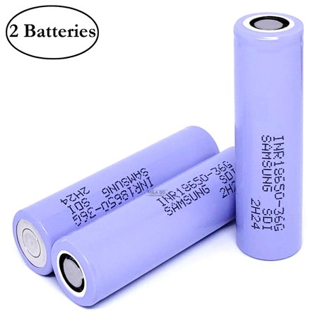 Samsung INR 18650 36G 3600mAh 10A Rechargeable High Drain Flat Top Vape Battery (2 Pack)