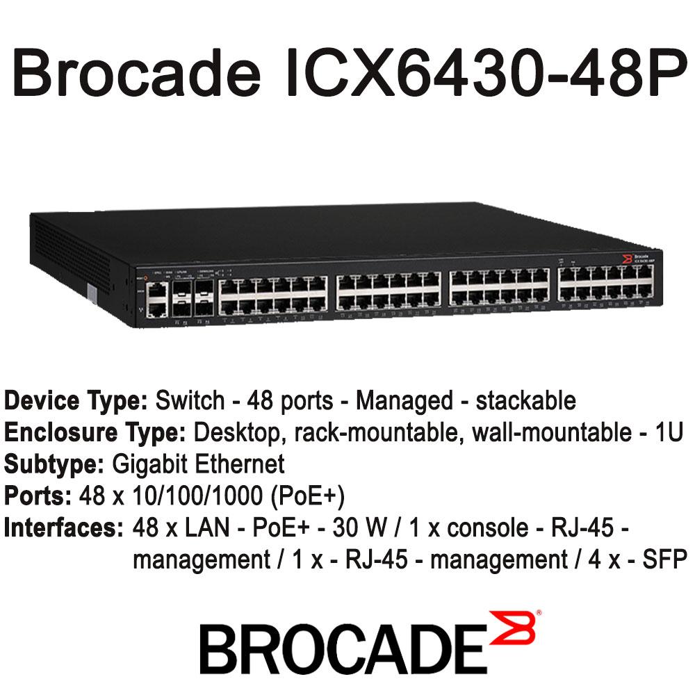 Brocade ICX 6430-48P - Switch -managed - 48x10/100/1000(PoE+)  desktop, rack