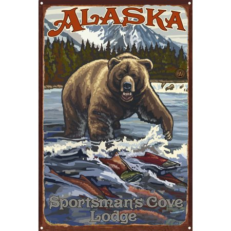 Alaska Sportsman s Cove Lodge Grizzly With Salmon Rustic Metal Art Pr