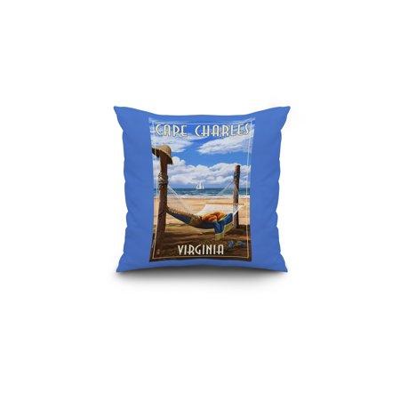 Hammock Post (Cape Charles, Virginia - Hammock & Posts - Lantern Press Artwork (16x16 Spun Polyester Pillow, Custom Border))