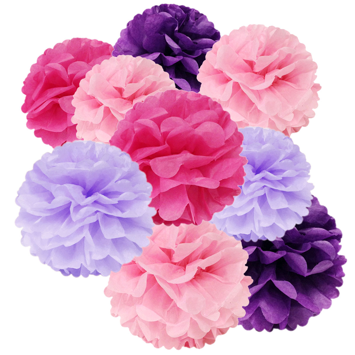 Wrapables® Set of 12 Tissue Pom Pom Party Decorations for Weddings, Birthday Parties Baby Showers and Nursery Decor, Lavender/Bright Purple/Hot Pink/Pink